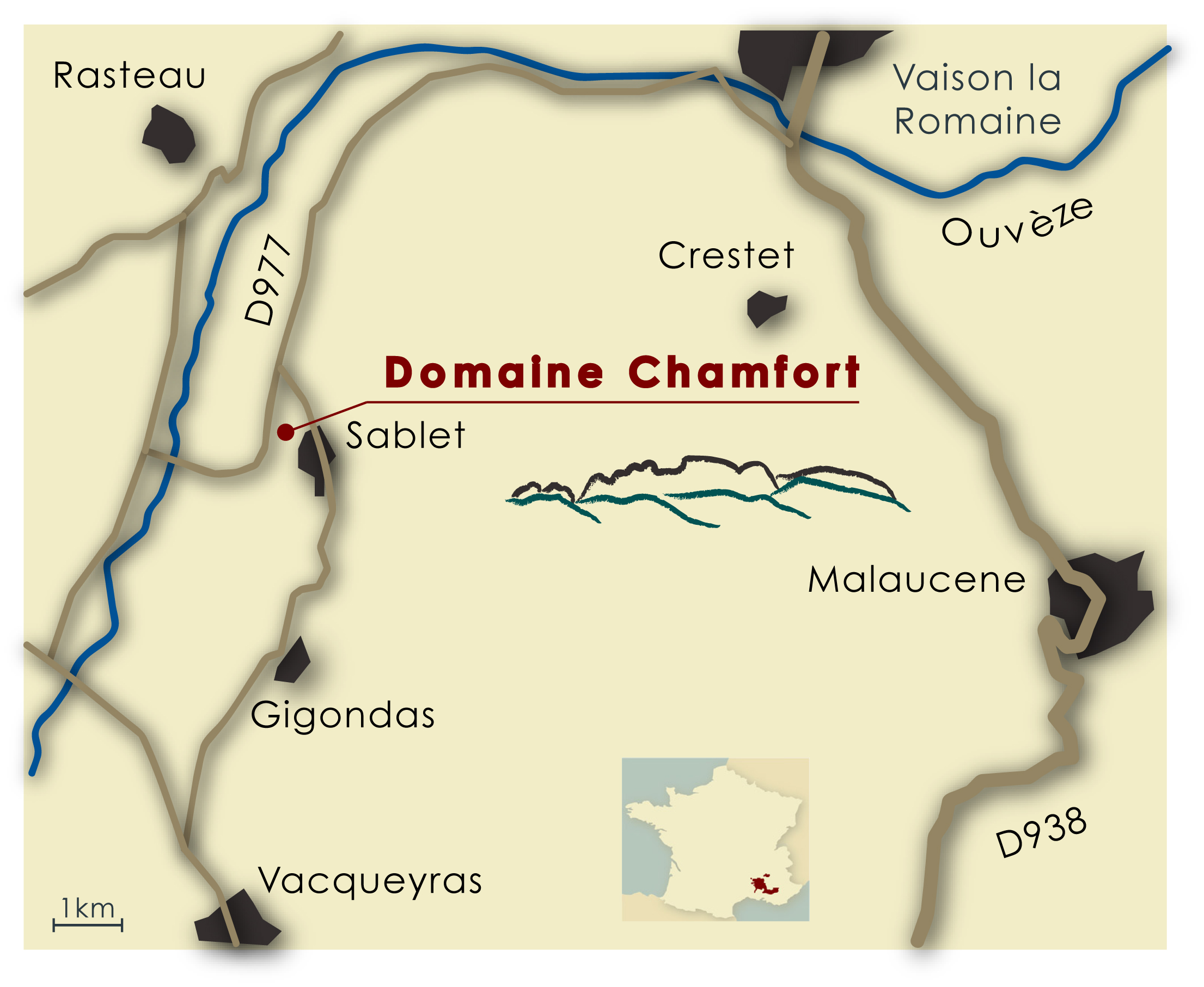 Die Domaine Chamfort in Sablet