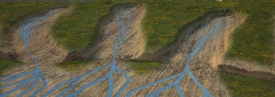 Durch Erosion entstandene Täler, die combes