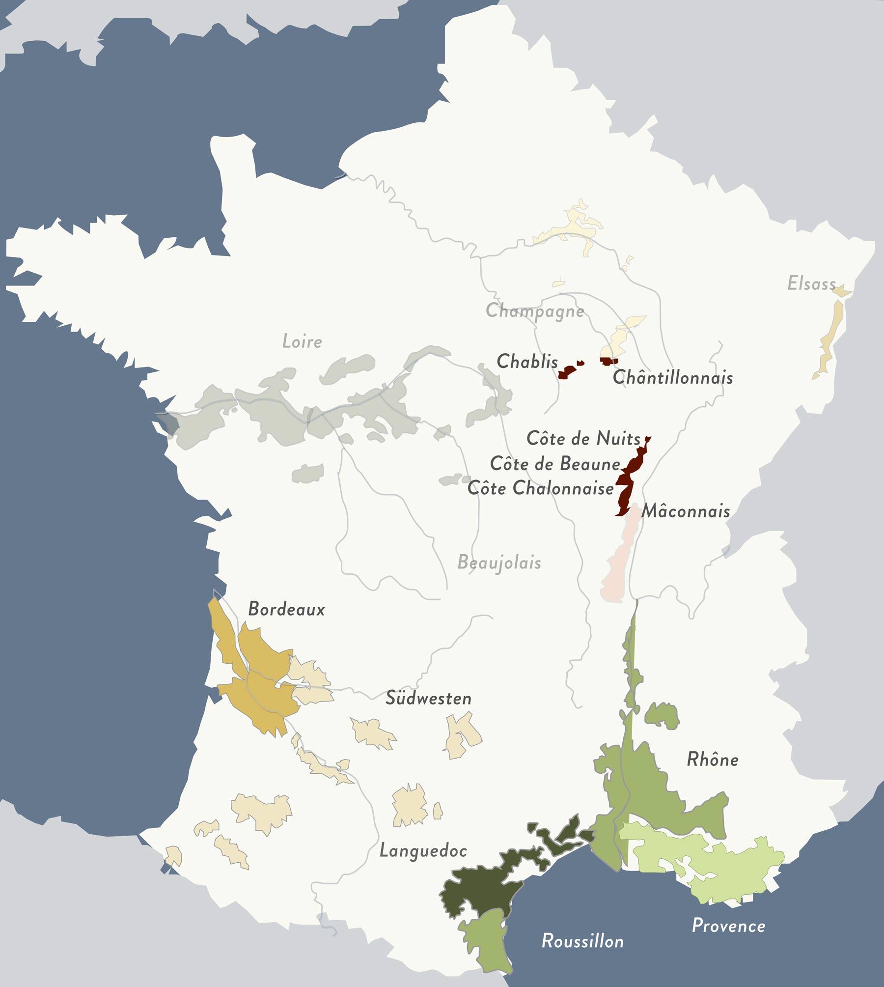 Lage des Burgund in Frankreich