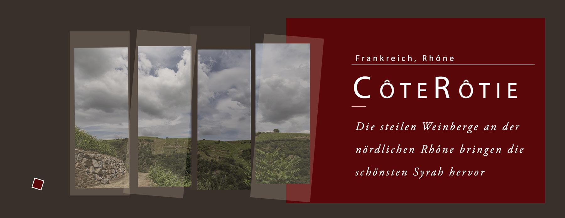 Die Côte Rôtie ist die steilste Lage an der Rhône und vollständig mit Syrah bestückt. Die Weine sind weltweit der Maßstab für Syrah-Weine.