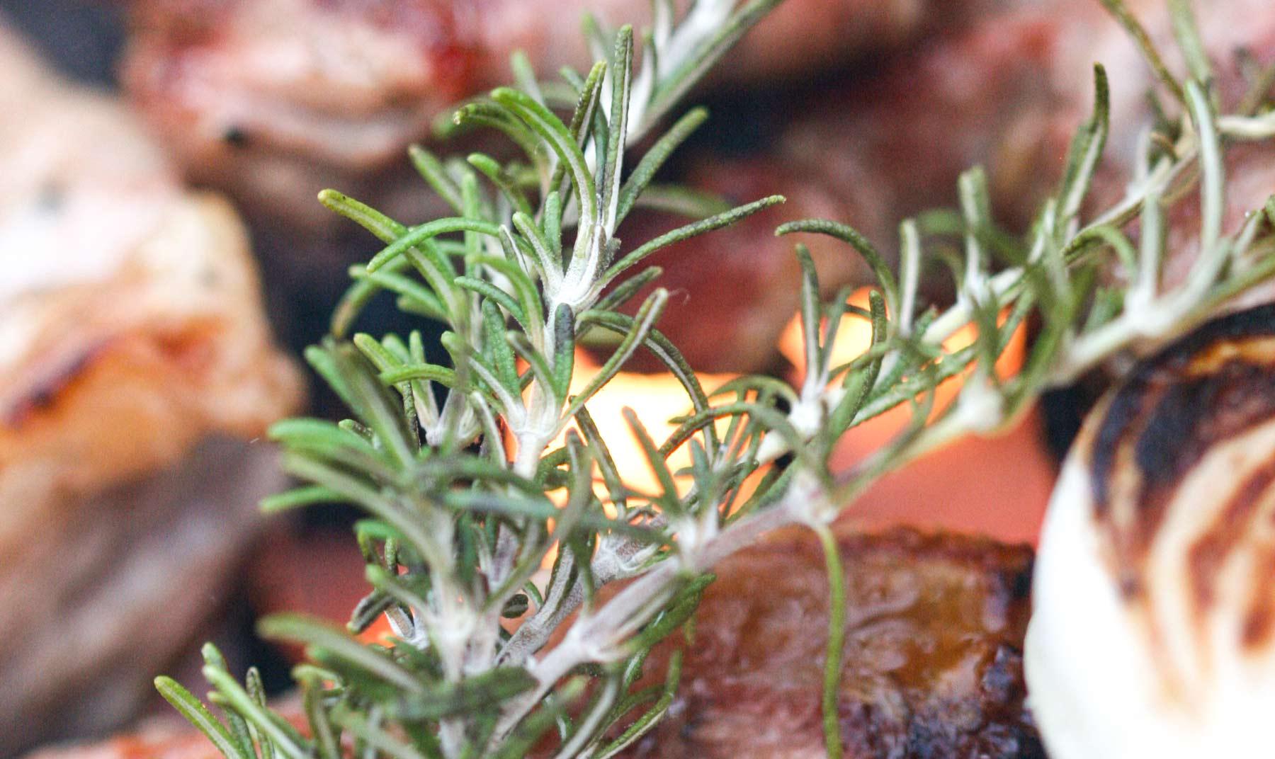 Lamm auf derm Grill in der Provence mit Rosmarin vom Wegesrand