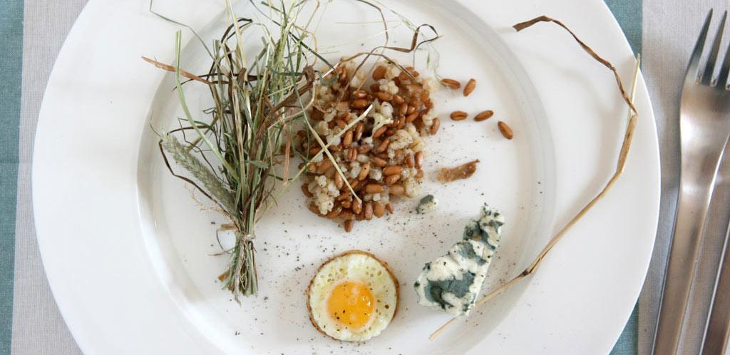 Südtiroler Risotto, gekocht im Sud aus Bergweiesenheu mit einem Wachtelei und Gorgonzola
