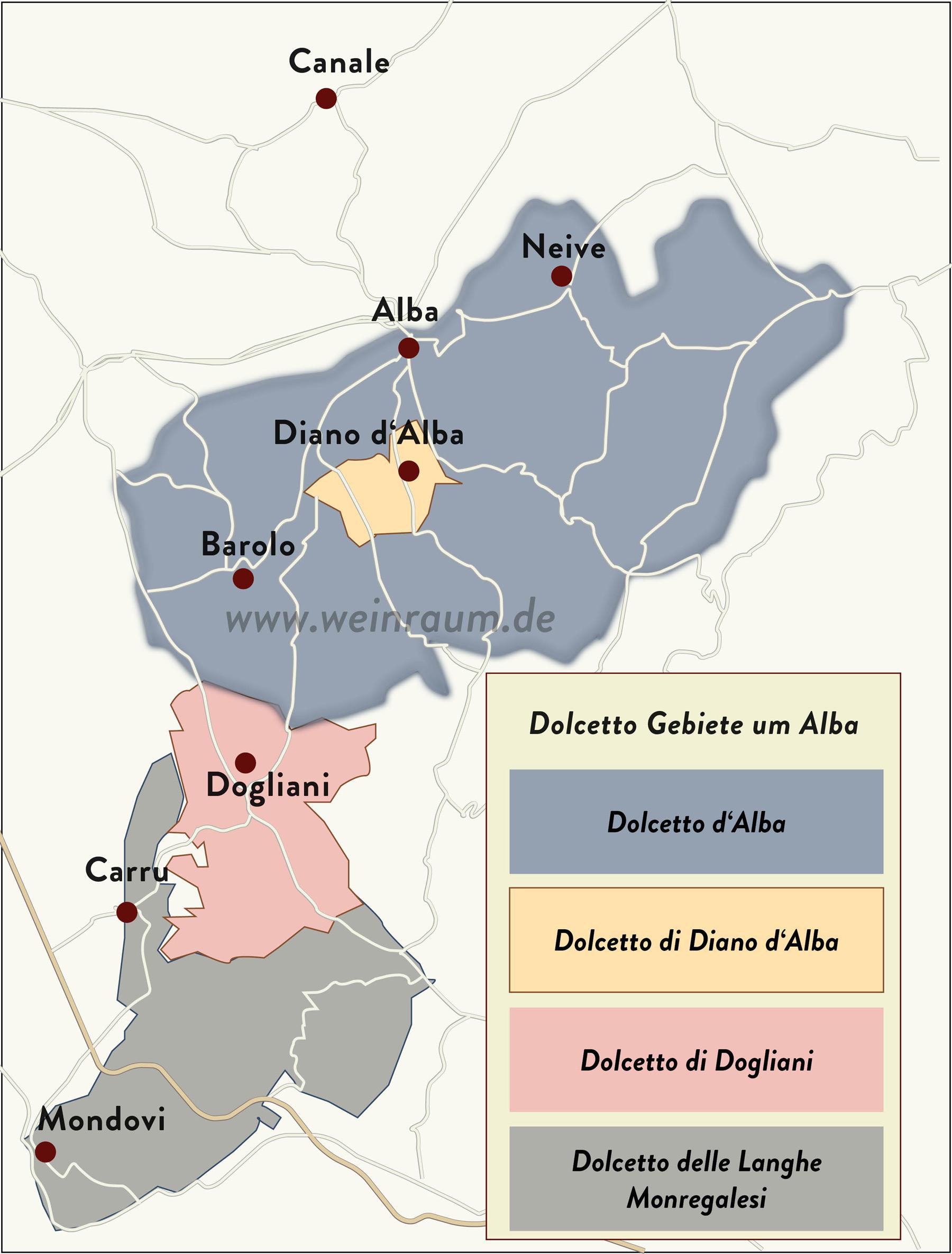 Um Alba liegen die besten Lagen für Dolcetto