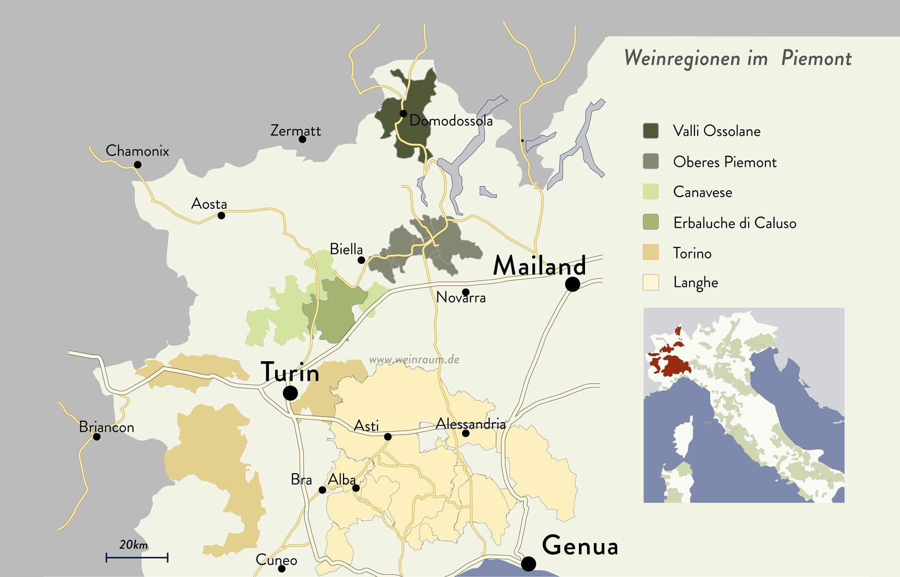 Die Weinregionen im Piemont
