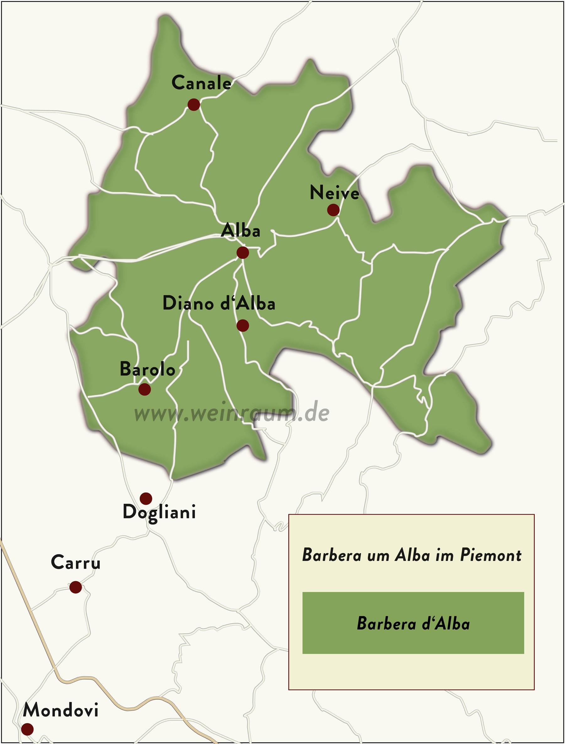 Um Alba hat der Barbera eine eigene Region