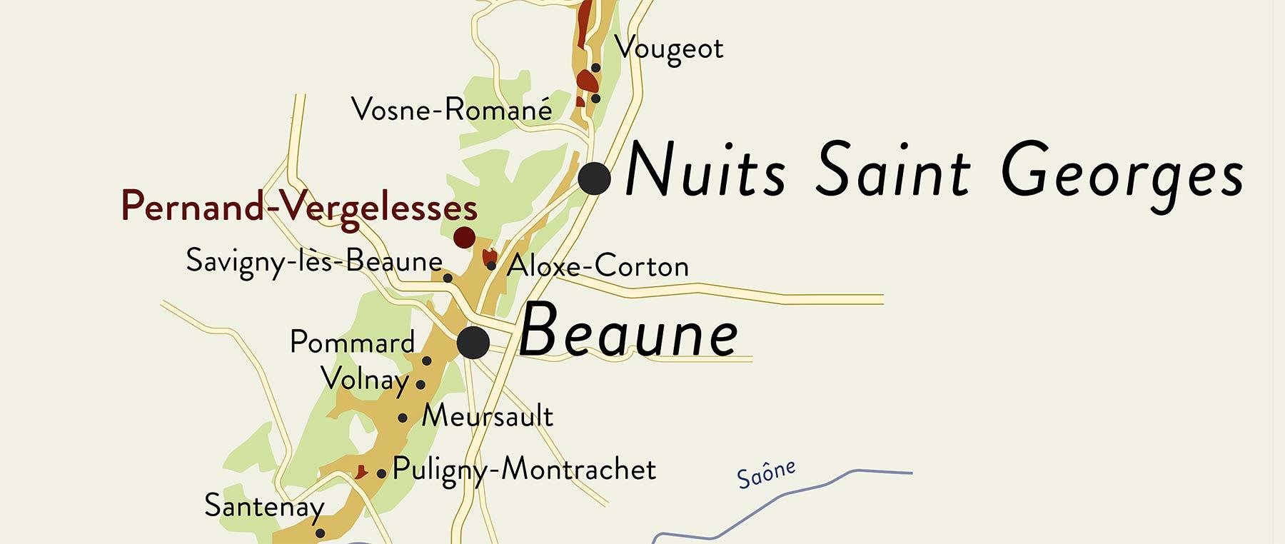 Pernand Vergelesses liegt zwischen Nuits Saint Georges und Beaune an der Côte d'or