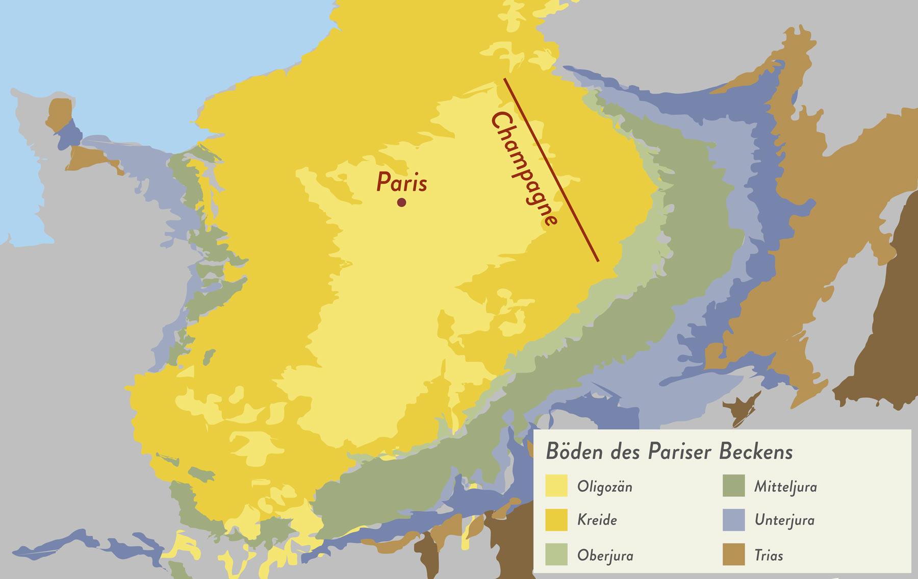 Die Verteilung der Böden im Pariser Becken