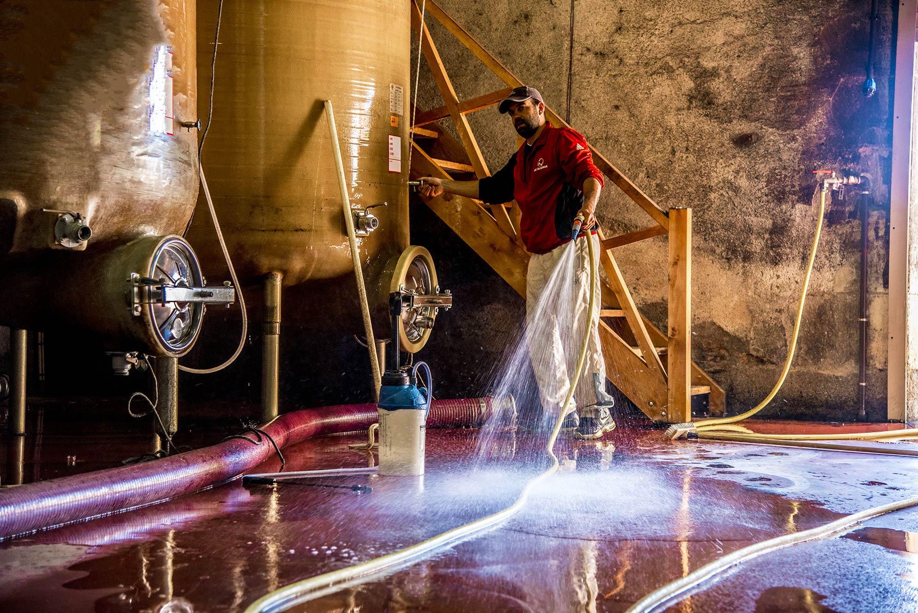 Kellerarbeit auf Brescou: Sauberkeit ist das a & o beim Wein erzeugen