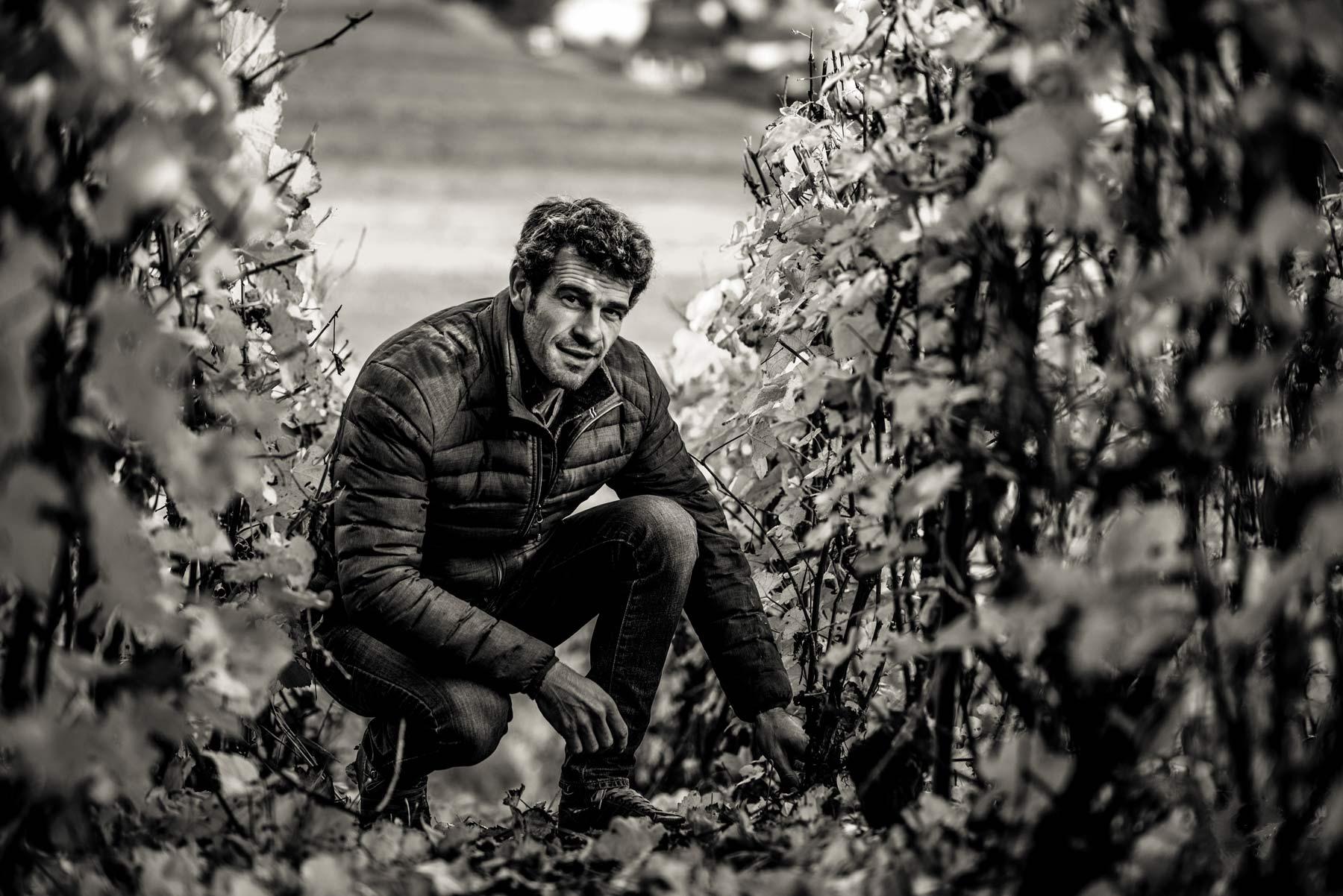 Nicolas Maillart wo er häufig zu finden ist: in den Weinbergen