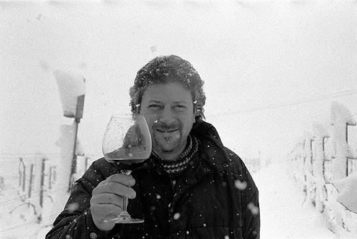 Reno Mossio im Piemont. Die Nebbiolo der Familie stehen offensichtlich oft im Kalten und bringen glasklarte Weine hervor